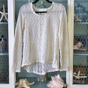 Aeropostale gold knit lace long-sleeve sweater, M